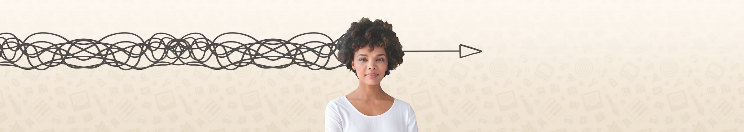 woman standing in front of graphic background with the appearance of a squiggly line entering the left of her head and a single arrow emerging from the right hand side