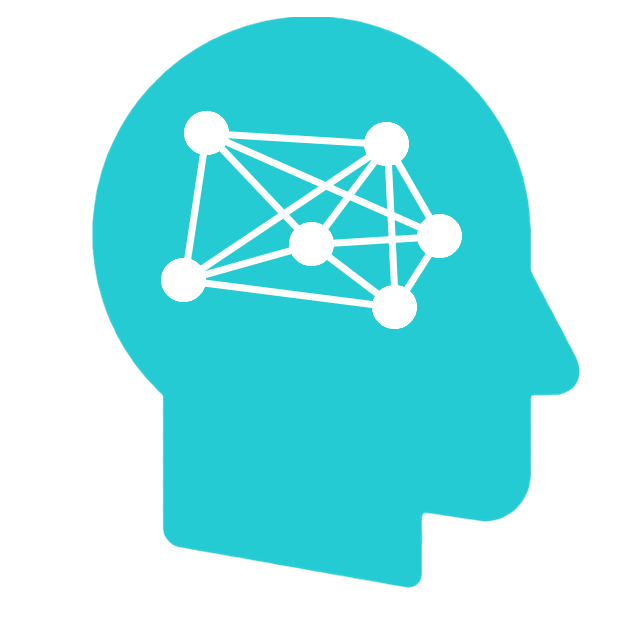 Head icon with network inside brain