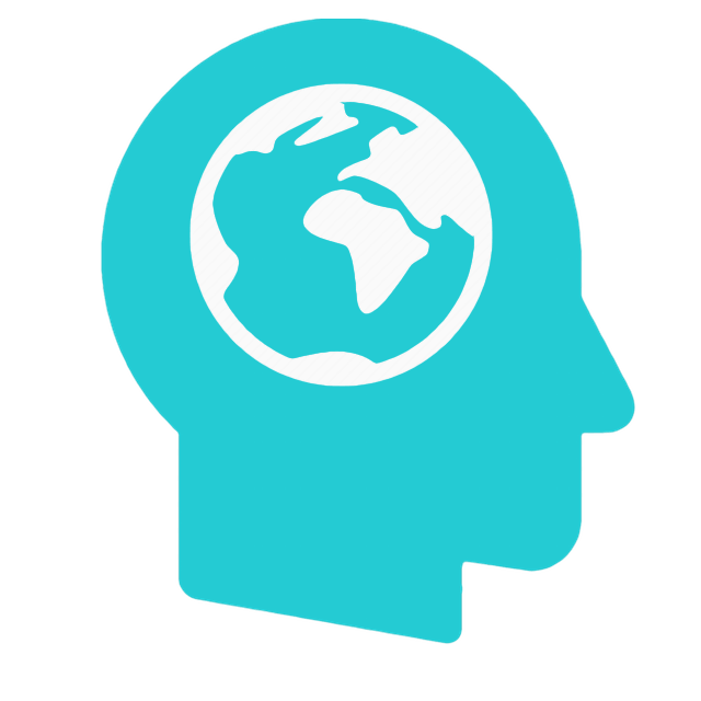 Head icon with world inside brain