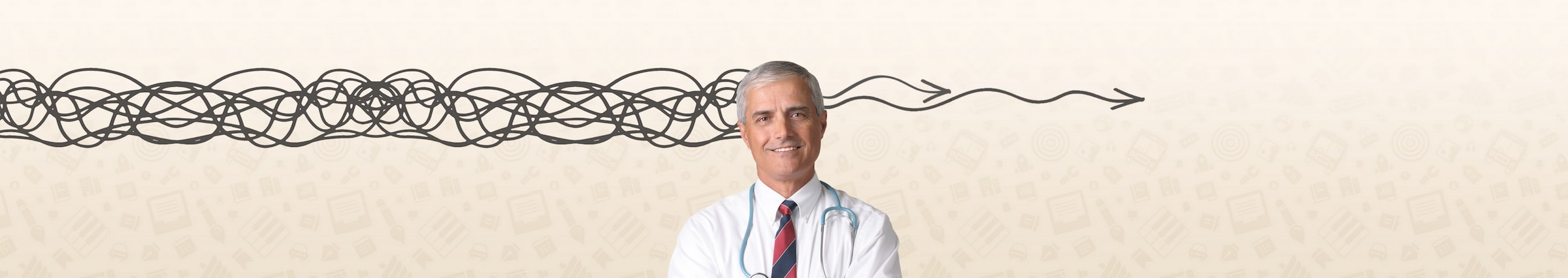 man standing in front of graphic background with the appearance of a squiggly line entering the left of his head and two gently wavy arrows emerging from the right hand side