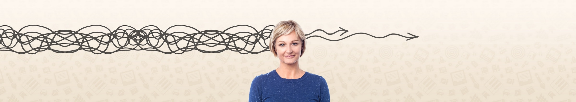 woman standing in front of graphic background with the appearance of a squiggly line entering the left of her head and two gently wavy arrows emerging from the right hand side
