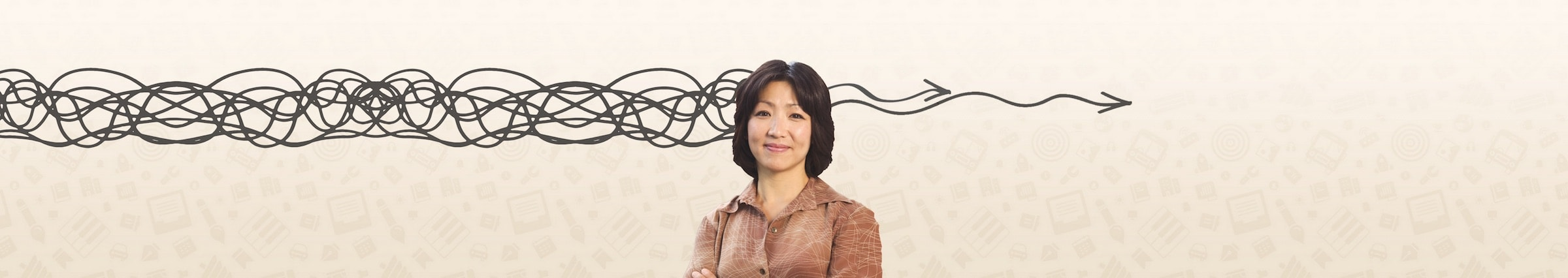 woman standing in front of graphic background with the appearance of a squiggly line entering the left of his head and two gently wavy arrows emerging from the right hand side