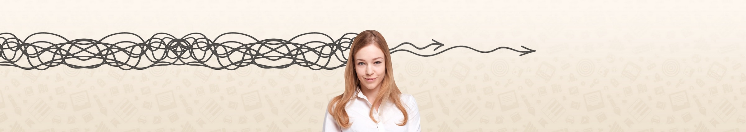 woman with long read hair standing in front of graphic background with the appearance of a squiggly line entering the left of his head and two gently wavy arrows emerging from the right hand side